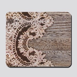 rustic wood lace Mousepad
